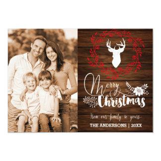 De vrolijke houten Kerstkaart van Kerstmis Kaart