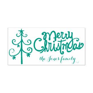 De vrolijke kalligrafie van Kerstmis Zelfinktende Stempel