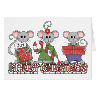De vrolijke Muizen van Kerstmis Kaart
