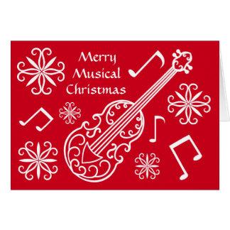De vrolijke muzikale rode en witte viool van briefkaarten 0