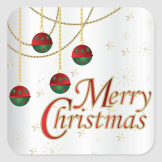 De vrolijke Ornamenten van Kerstmis op Wit Vierkante Sticker