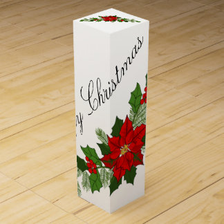 De vrolijke Poinsettia van Kerstmis Wijn Geschenkdoos
