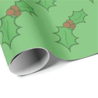 De vrolijke Rode Groene Bessen van het Blad van de Cadeaupapier