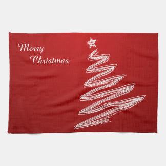 De vrolijke Rode Kerstboom van Kerstmis Theedoek