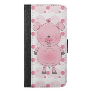 De vrolijke Roze Cartoon van het Varken iPhone 6/6s Plus Portemonnee Hoesje