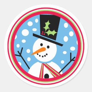 De vrolijke Sticker van de Sneeuwman van Hoge