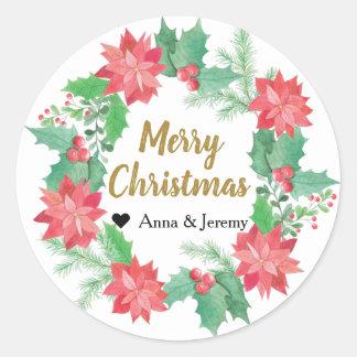 De vrolijke Sticker van Kerstmis - Gouden Kerstmis