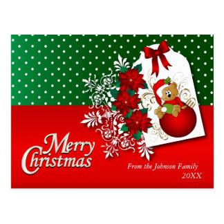 De vrolijke Teddybeer van de Vakantie van Kerstmis Briefkaart