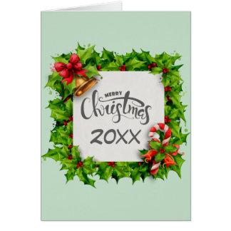 De vrolijke Vierkante Hulst van Kerstmis met Jaar Briefkaarten 0