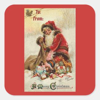 De vrolijke Vintage Kerstman van Kerstmis Vierkante Sticker