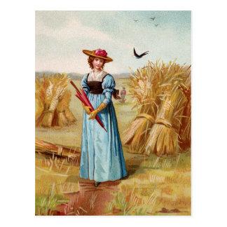 De vrouw in het Briefkaart van het Gebied van de
