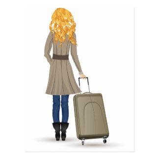 De Vrouw van de blonde met Koffer Briefkaart