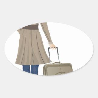 De Vrouw van de blonde met Koffer Ovale Sticker
