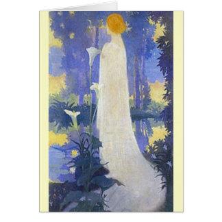 De Vrouw van de Jugendstil met Calla Lelies Briefkaarten 0