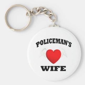De Vrouw van de politieagent Basic Ronde Button Sleutelhanger