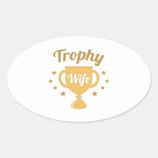 De Vrouw van de trofee Ovale Sticker