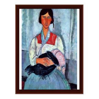 De Vrouw van de zigeuner met Kind door Modigliani Briefkaart