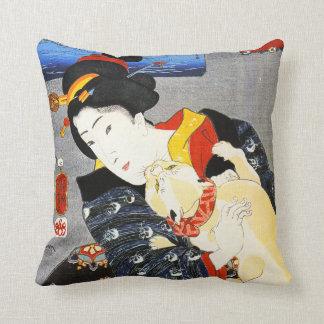 De Vrouw van Kuniyoshi met een Hoofdkussen van de Sierkussen