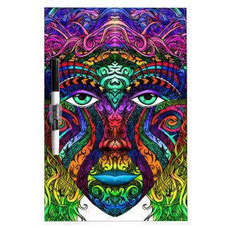 De vrouwelijke Kunst van het Gezicht met de Dry Erase Whiteboard