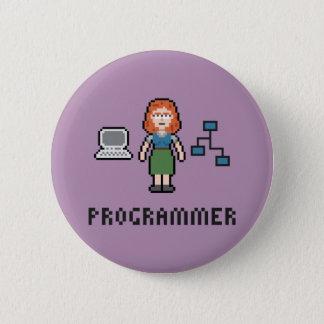 De Vrouwelijke Programmeur van het pixel om Knoop Ronde Button 5,7 Cm
