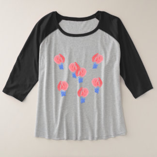 De Vrouwen van de Ballons van de lucht plus Raglan Grote Maat Raglan T-shirt