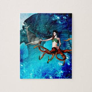 De vrouwen van de octopus met dolfijn foto puzzels