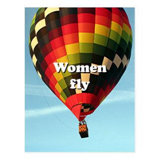 De vrouwen vliegen: hete luchtballon briefkaart