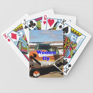 De vrouwen vliegen: hoog vleugelvliegtuig pak kaarten