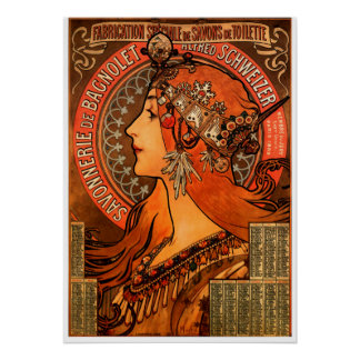 De vrouwensilhouet van Alfons Mucha Poster