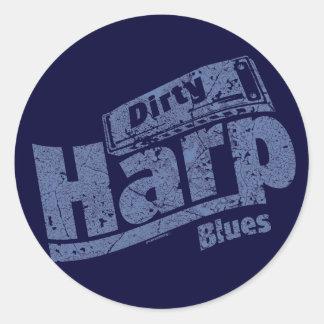 De vuile Blauw van de Harp Ronde Sticker