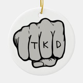 De Vuist van vechtsporten TKD Rond Keramisch Ornament
