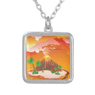 De Vulkaanuitbarsting van de cartoon Zilver Vergulden Ketting