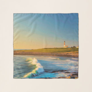 De vuurtoren met zonsondergang oceaangolven sjaal