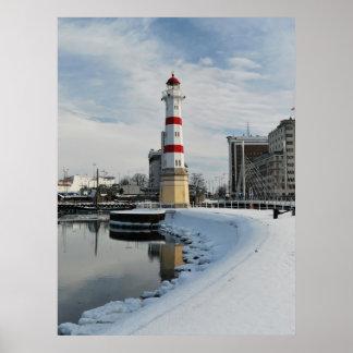 De Vuurtoren van de winter Poster