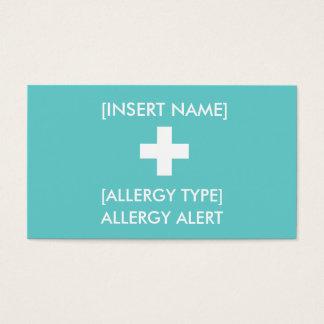 De Waakzame Kaart ID/ICE van de allergie Visitekaartjes