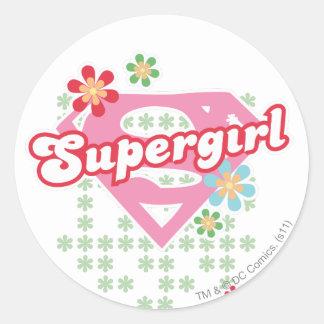 De Waanzin van de Bloem van Supergirl Ronde Sticker