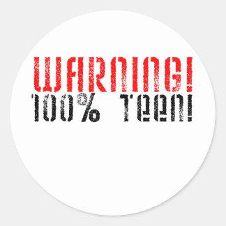 De waarschuwende Tiener van 100% Ronde Sticker