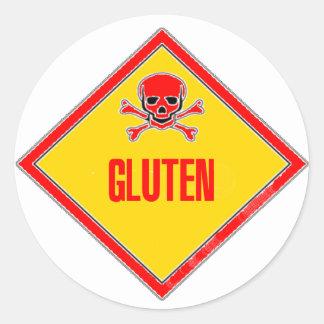 De Waarschuwing van het Vergift van het gluten Ronde Stickers
