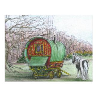 De Wagen van de zigeuner en paardbriefkaart Briefkaart