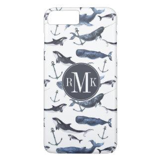 De Walvis van de waterverf & het Patroon van het iPhone 8/7 Plus Hoesje
