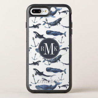De Walvis van de waterverf & het Patroon van het OtterBox Symmetry iPhone 8 Plus / 7 Plus Hoesje