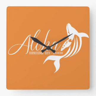 De Walvis van Hawaï Vierkante Klok