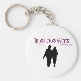 De ware Liefde wacht Keychain Basic Ronde Button Sleutelhanger