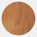 De warme Houten Textuur van de Korrel Ronde Sticker