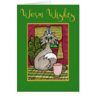 De warme Kat van Wensen & Hete Kerstmis van de Briefkaarten 0