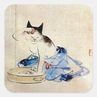 De was van de kat haar lichaam, Utagawa Hiroshige Vierkante Sticker