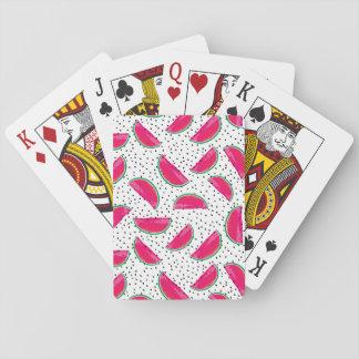 De Watermeloen van het neon op het Patroon van Speelkaarten