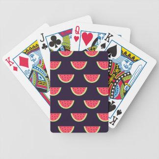De Watermeloen van het neon op Paars Patroon Poker Kaarten