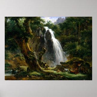 De Waterval van Etna Michallon van Achille in Poster