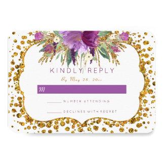De waterverf bloeit Goud schittert Confettien RSVP 8,9x12,7 Uitnodiging Kaart